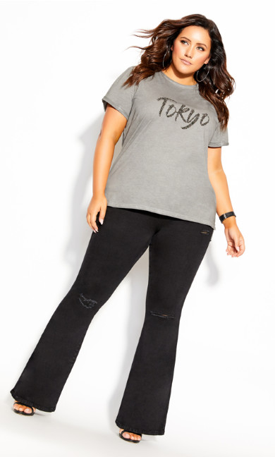 Plus Size Tokyo Chic Tee - grey