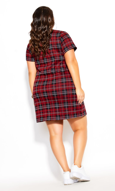 Plaid Love Dress - red plaid