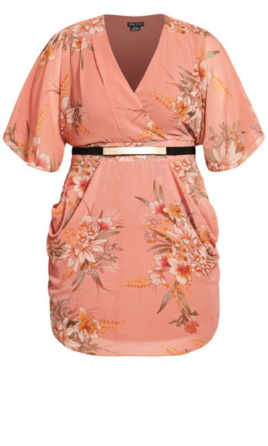 Gypsy Floral Wrap Dress - guava