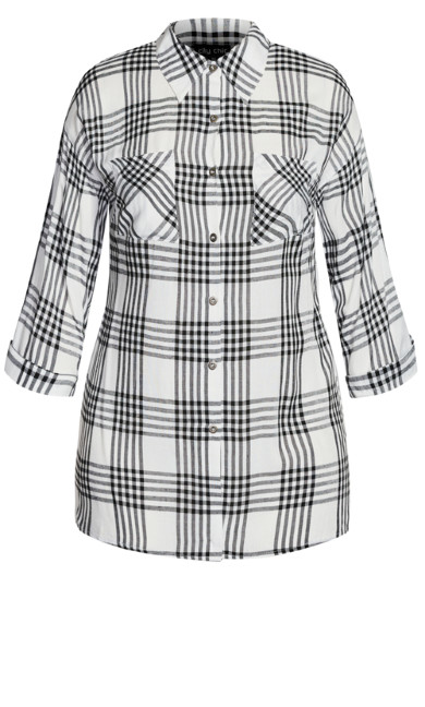 Simple Plaid Shirt - white
