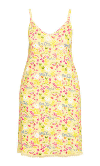 Abstract Lace Trim Chemise - yellow