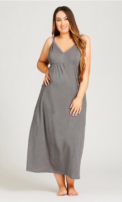 Plus Size Lace Plain Maxi Sleep Dress - gray