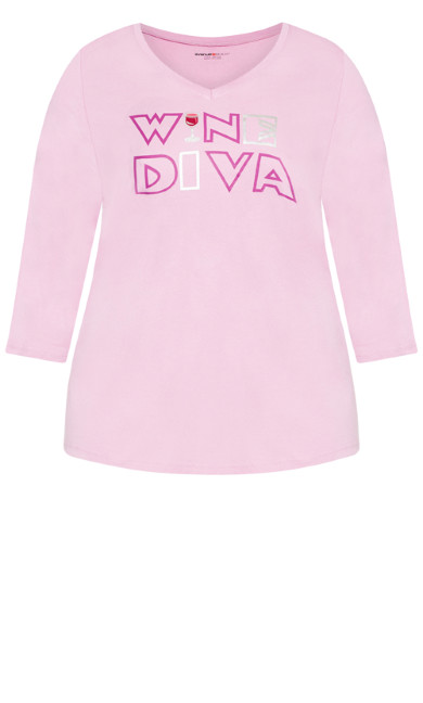 Wine Diva Sleep Top - soft pink