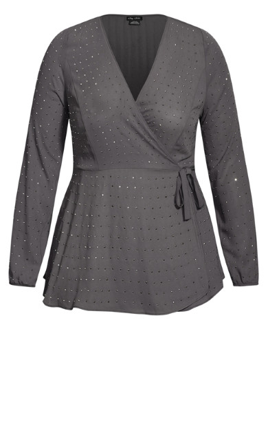 Bling Flirt Top - grey