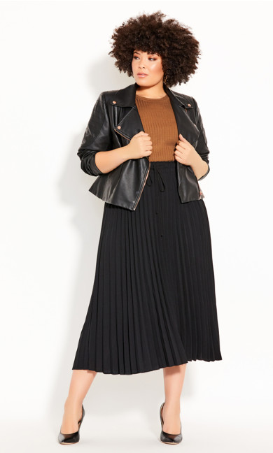 Plus Size Simple Pleat Skirt - black