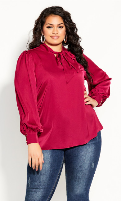 Plus Size In Awe Top - sangria