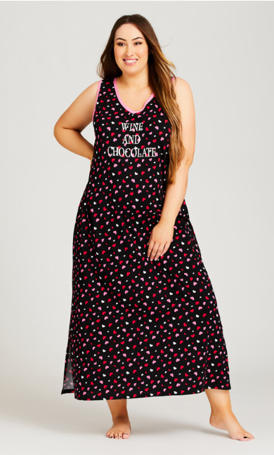 Plus Size Wine & Chocolate Maxi Sleep Dress - black