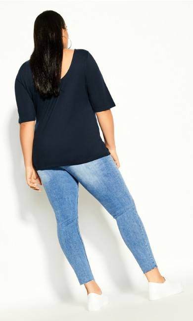 Scoop Neck Elbow Sleeve Tee - navy