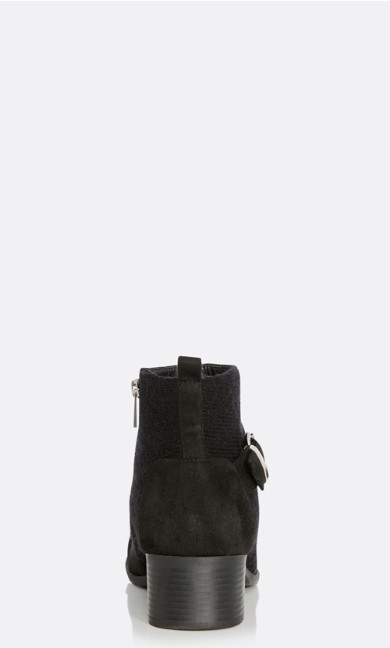 Darla Quilted Faux Suede Ankle Boot - black
