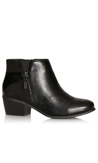 Plus Size Haley Exposed Zip Ankle Boot - black