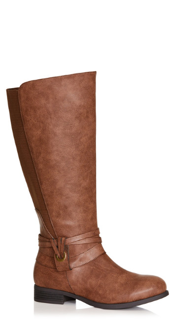 Plus Size Naomi Leather Riding Boot - brown