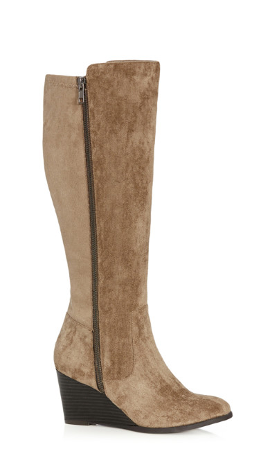 Plus Size Delia Wedge Boot - beige