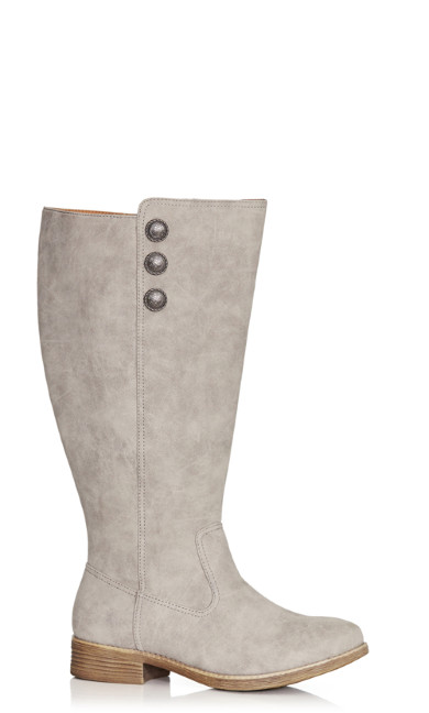 Plus Size Nora Button Trim Tall Boot - taupe