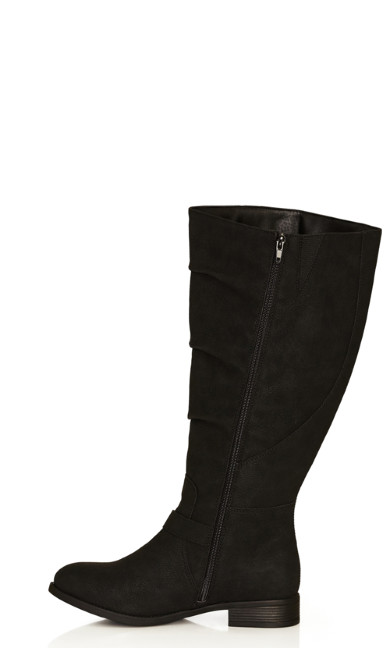 Gabby Double Buckle Riding Boot - black