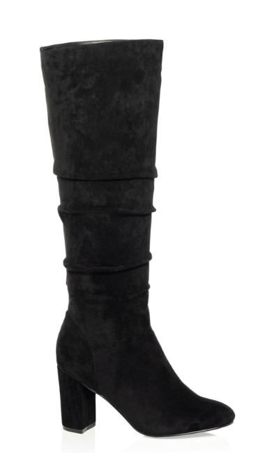 Plus Size Petra Knee High Boot - black