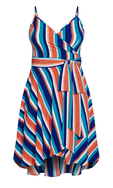 Pop Stripe Dress - cobalt