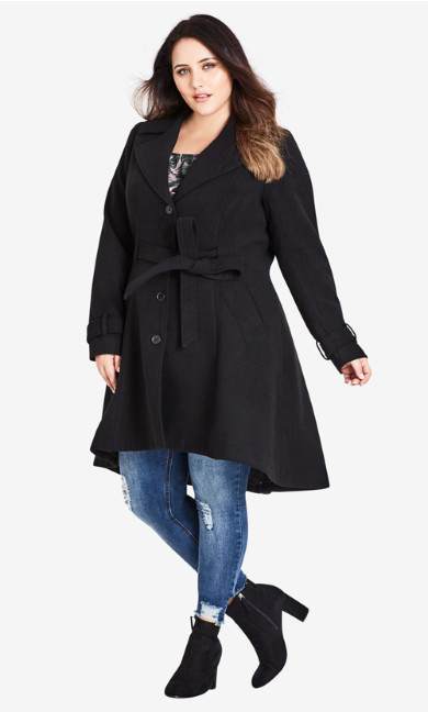 Women's Plus Size Frill Back Coat