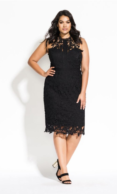 Women's Plus Size Lace Victorian Dress - black