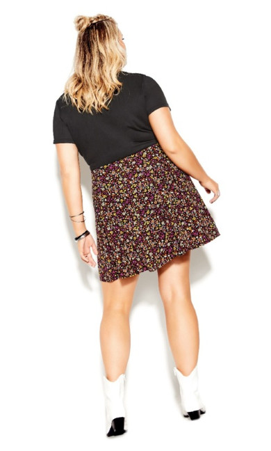 Retro Ditsy Skirt - black