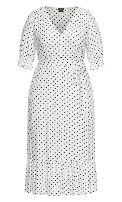 Spotty Tier Dress - white