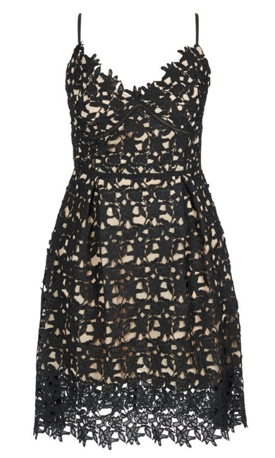 So Fancy Crochet Fit & Flare Dress - Black