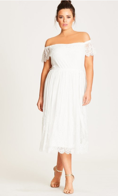 Women's Plus Size Vine Detail Off-Shoulder Dress - Ivory