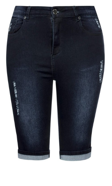 Turn Up Knee Length Short - indigo