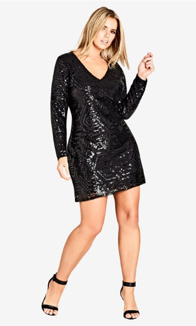 Women's Plus Size Bright Lights Dress - black