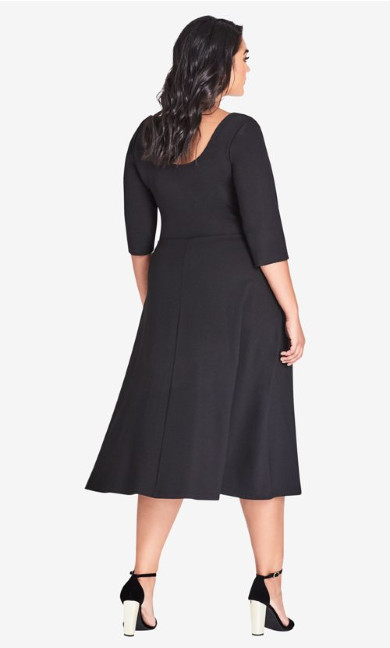 Classic Sleeve Longline Fit & Flare Dress - Black