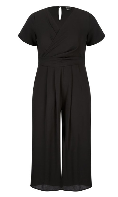 Wrap Front Crop Jumpsuit - Black