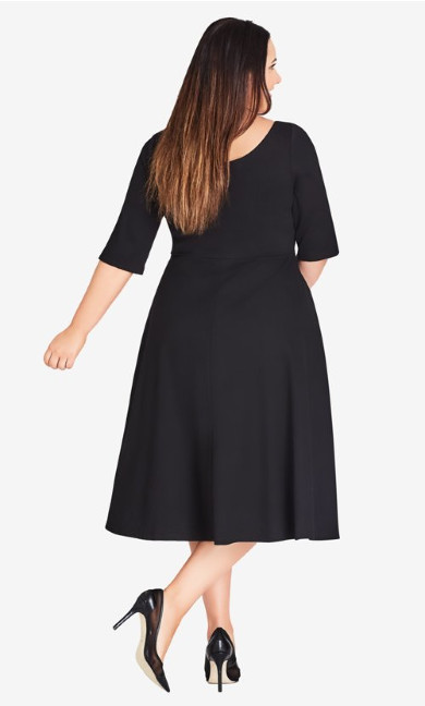Cute Girl Sleeved Dress - black