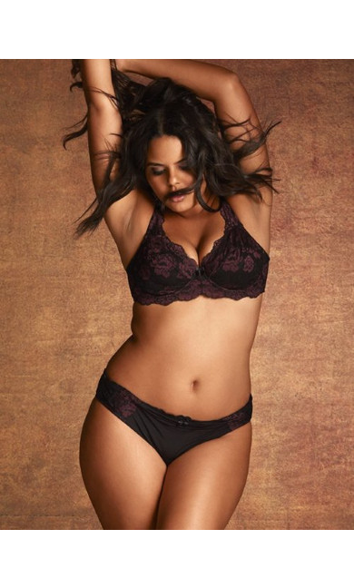 Plus Size Darcie Cheeky Brief with Side Lace Panels, Black