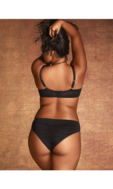Darcie Front Lace Panel Cheeky Brief - Black