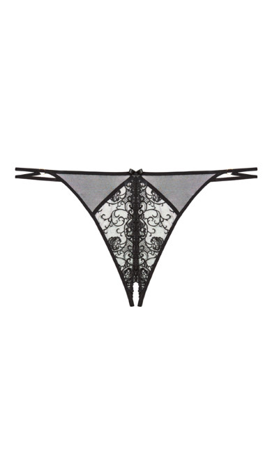 Tatiana Embroidered Crotchless G-string - Black