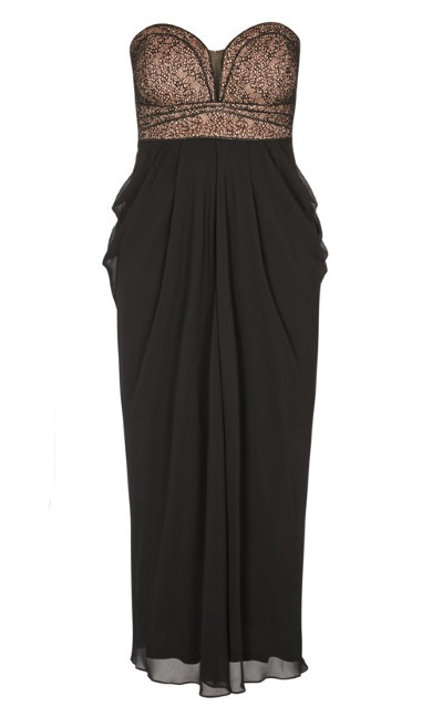 Motown Draped Black Chiffon Maxi Dress - black