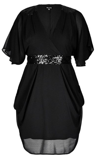 Sequinned Faux Wrap Dress - black