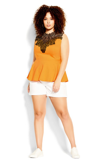 Lace Front Top - marigold