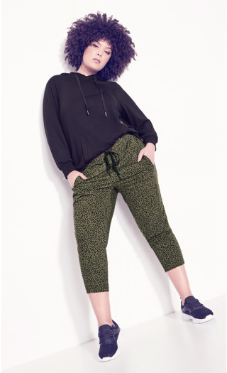 Slouch Crop Print Pant - olive animal