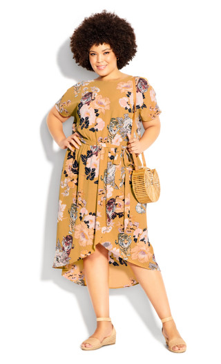 Meant To Be Print Dress - mustard