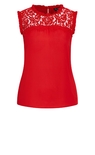 Lace Angel Top - red