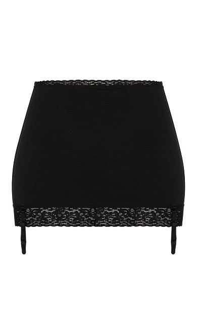 Shaper Skirt with Lace Trim - Black