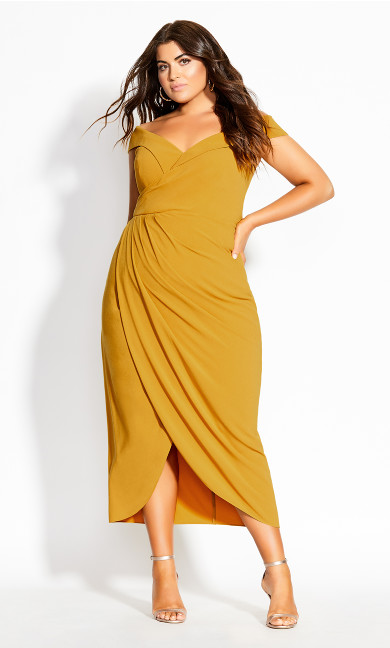 Women's Plus Size Rippled Love Dress - gold