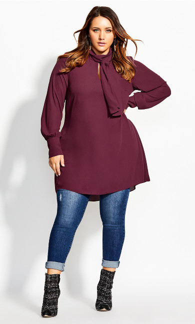 Women's Plus Size Neck Tie Tunic - port