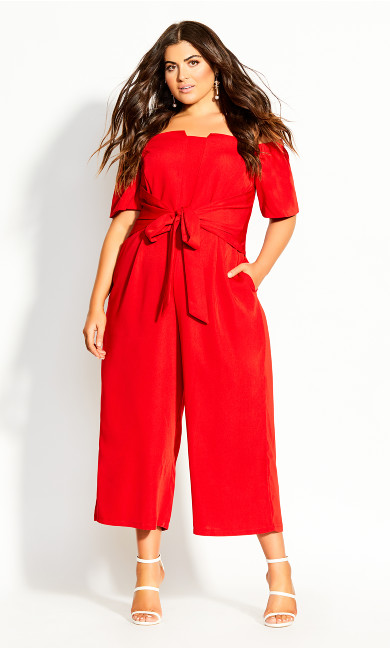 Lush Shoulder Jumpsuit - red