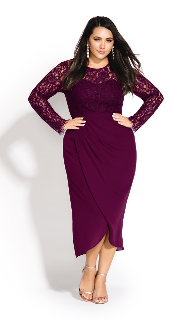 Women's Plus Size Elegant Lace Dress - bordeaux