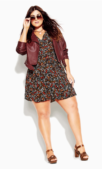Plus Size Belted Biker Jacket Beetroot Faux Leather Edge Rocker