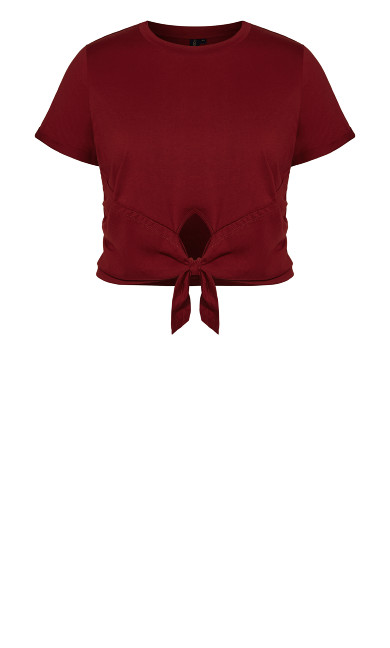Lounge Crop Tee - pomegranate
