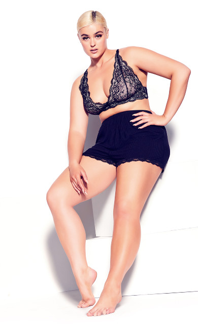 Plus Size Ribbed Black Lounge Shorts