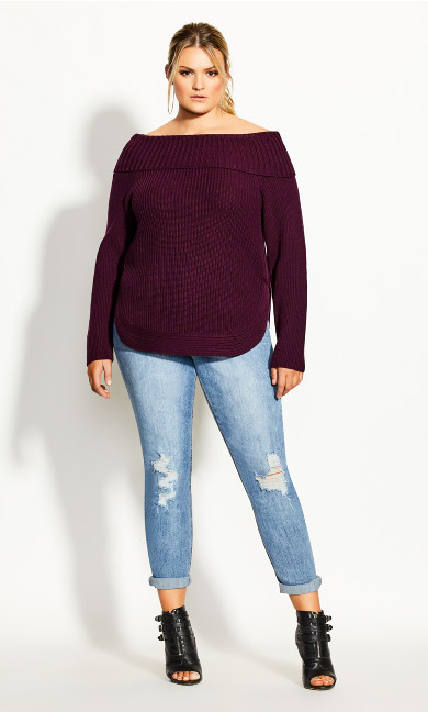 Women's Plus Size Scoop Me Up Jumper - plum