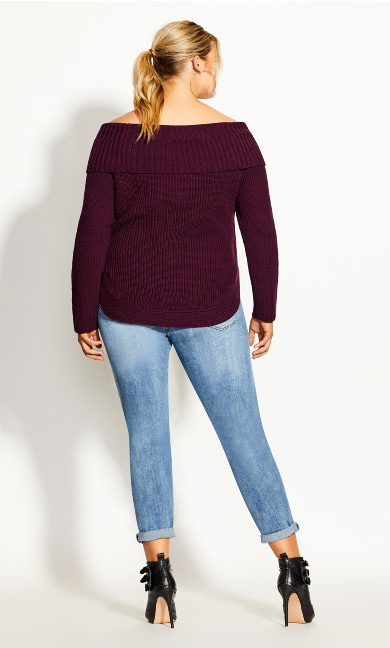 Scoop Me Up Sweater - plum